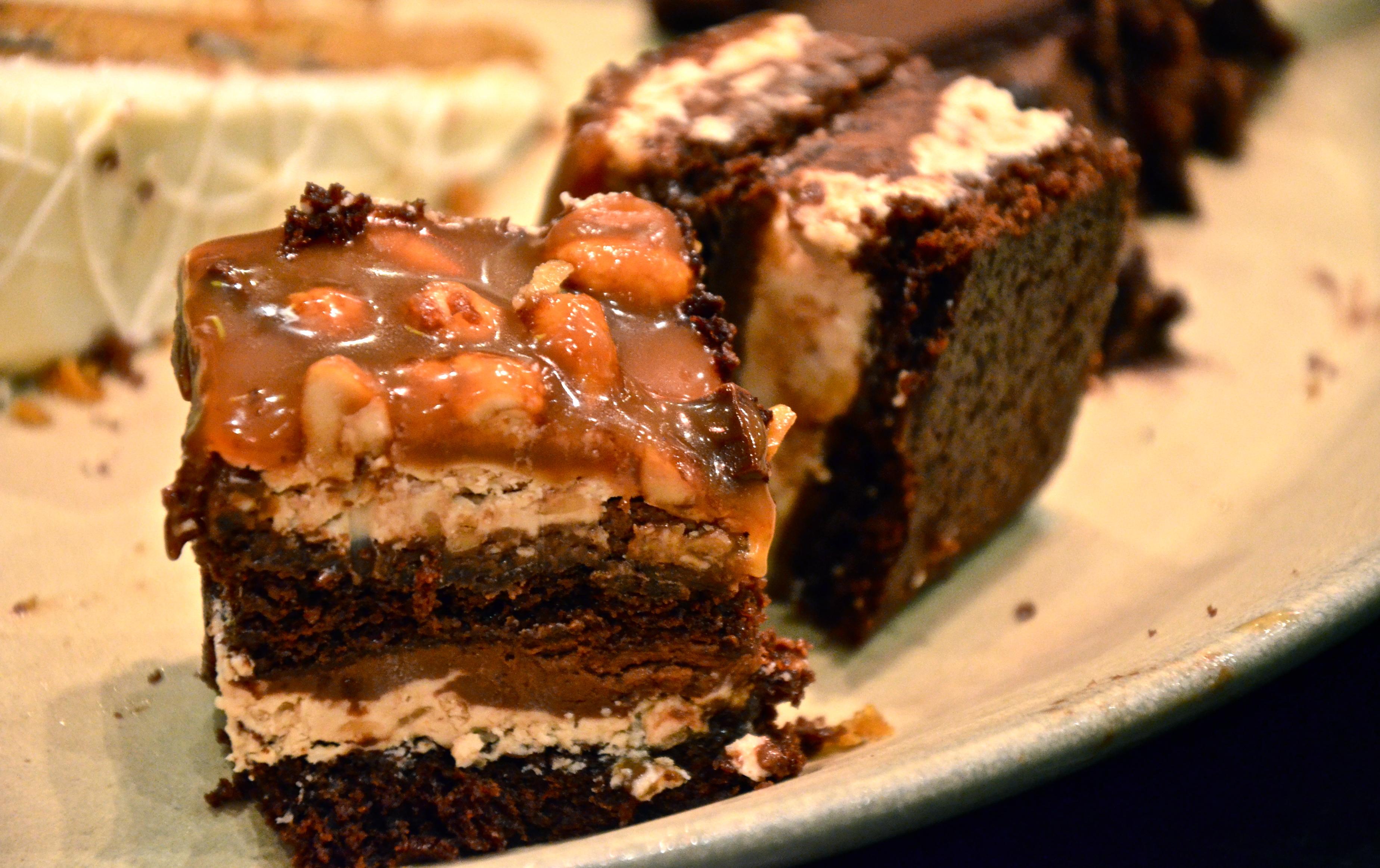 Light chocolate peanut butter cake