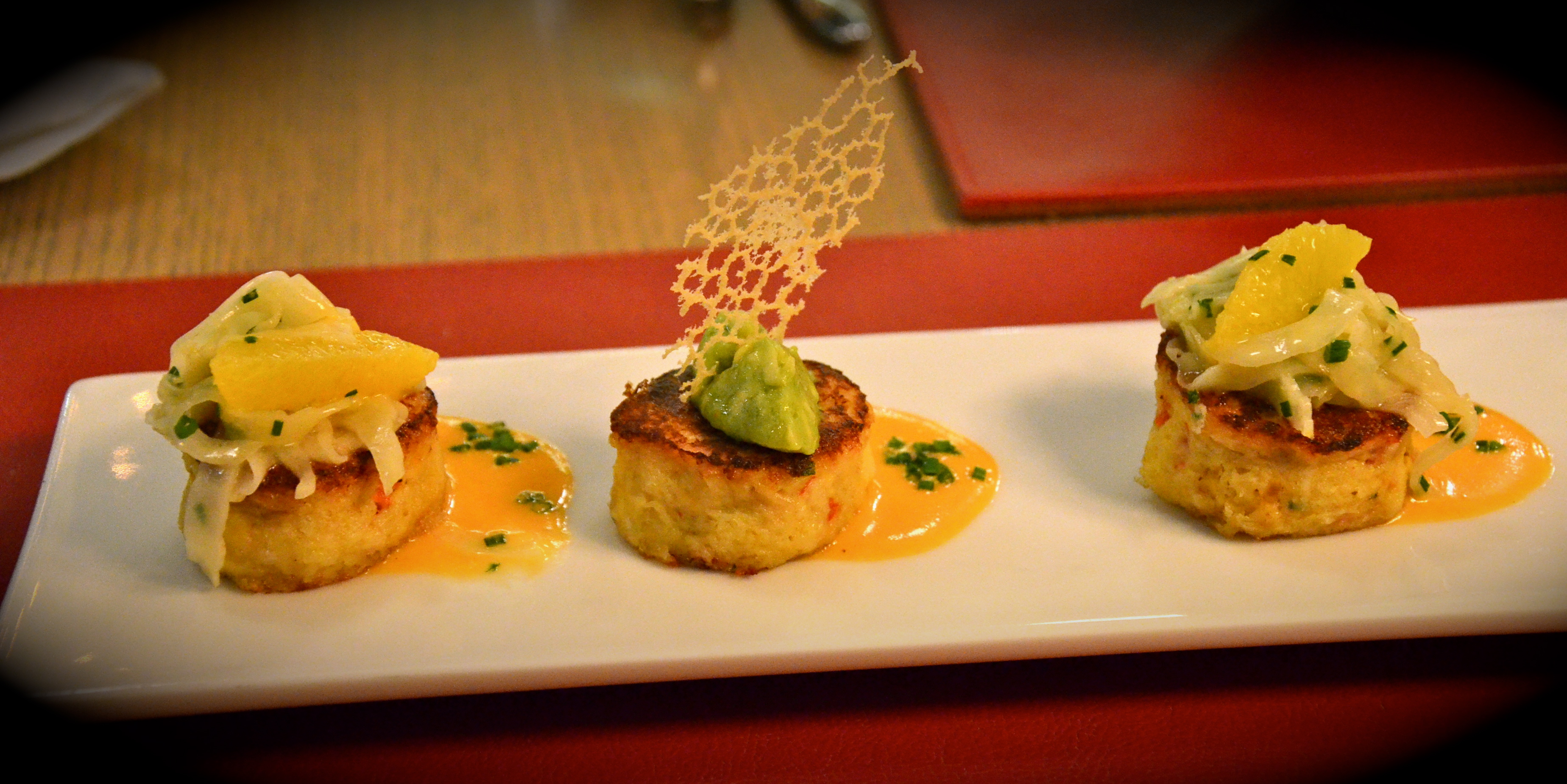 Pan Seared Crab Cake Aed 75 Red Pepper Beurre Blanc